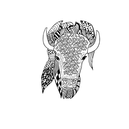 Bison head hand drawn. Doodle art . Object isolated on white. Illustration