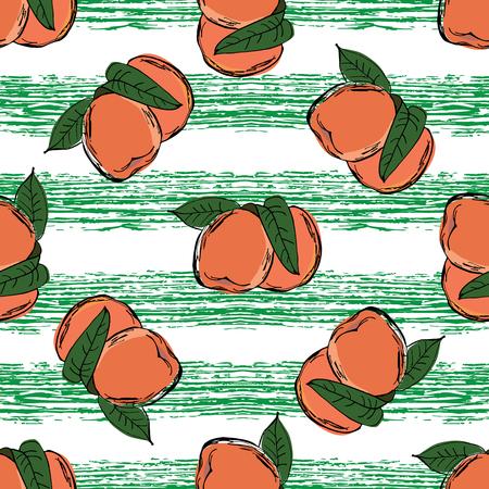 Peach hand drawn pattern on green strips. Doodle art