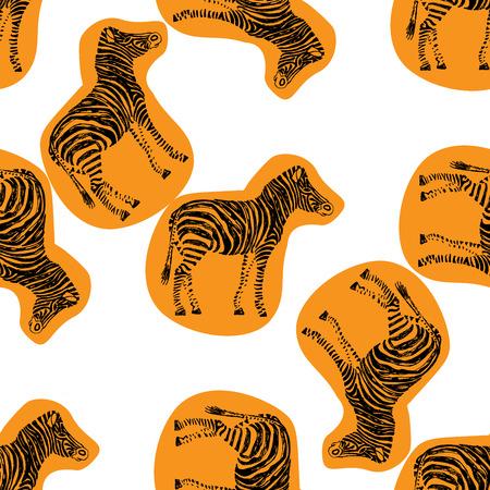 Zebra hand drawn pattern. Orange object isolated on white. Doodle art