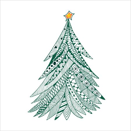 Christmas tree doodle stylized, hand drawn, illustration, green on white. Happy New Year card