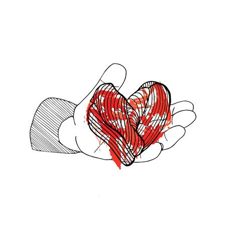 Bleeding heart in hand. Halloween hand drawn card on white. Illustration