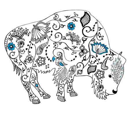 Bison hand drawn. Doodle flourish art . Object isolated on white.