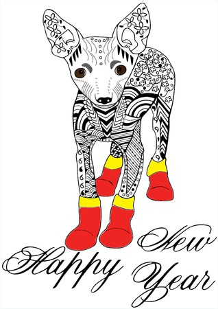 Toy terrier in red boots Hand drawn sketched vector illustation. Doodle graphic with ornate pattern. Happy New Year lettering