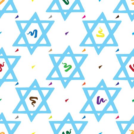 Bar Mitzvah pattern hand drawn with David star Ilustração
