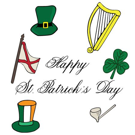 Clover hat flag arch pipe hand drawn with lettering St. Patrick day. Object isolated on white Illustration