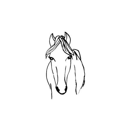 Horse silhouette ink hand drawn scketch on white background.