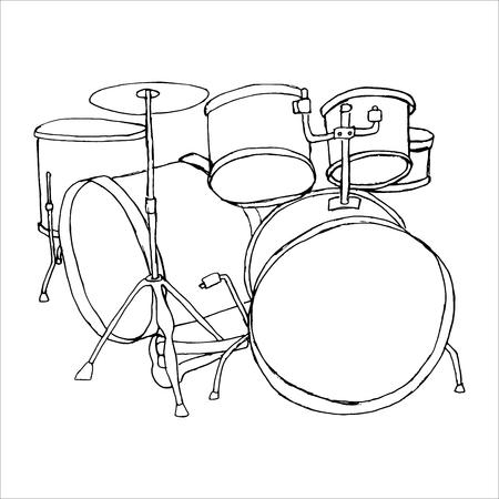 Bid Drumset Crash Base On White Backdrop Freehand Line Black