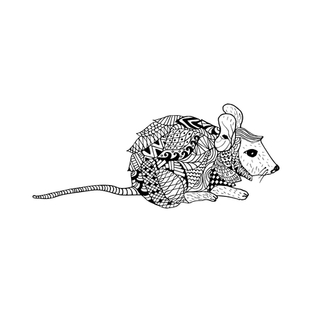 Mouse doodle hand drawn, illustration, black and white. Object isolated