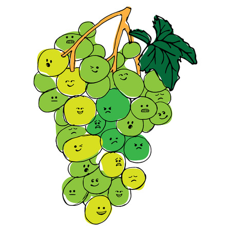 Grapes with faces emotions hand drawn background illustration.
