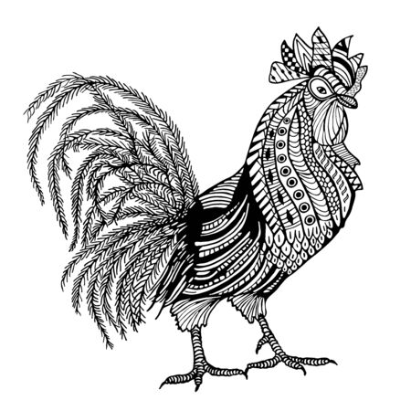 Rooster hand drawn doodle object isolated on white