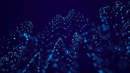Futuristic background of points with a dynamic wave. Big data. Abstract background 3d
