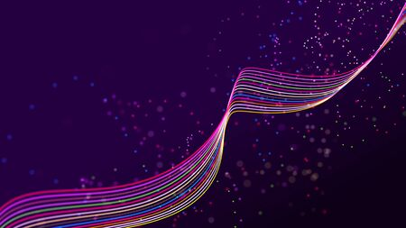 Abstract wave of sound particles. Equalizer for music. Signal transmission. 3D