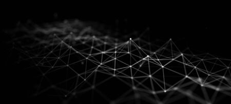 Abstract technology. Large data code matrix. Network connection structure. 3D