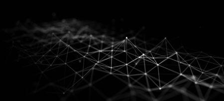 Technologie abstraite. Grande matrice de code de données. Structure de connexion réseau. 3D