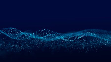 Futuristic background of dots and lines with a dynamic wave. Big data. 3d rendering.