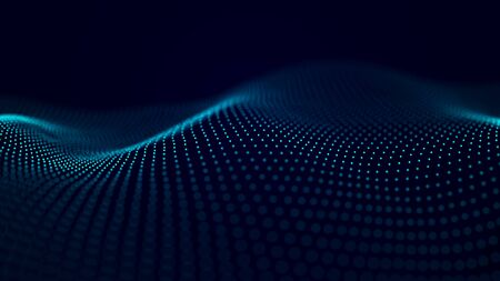 Futuristic background of points and lines with a dynamic wave. Big data. Abstract background 3d