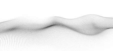 Wave of particles. Futuristic point wave. Vector illustration. Abstract background with a dynamic wave.
