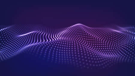 Abstract background of moving particles. Futuristic dotted wave. Big data. Vector illustration.