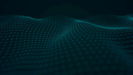 Wave of interlacing points and lines. Abstract background. Technological style for science, big data.3d rendering.
