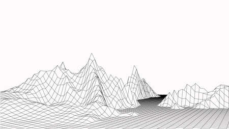 Technology vector illustration. Abstraction. Landscape design of mountains. 3d