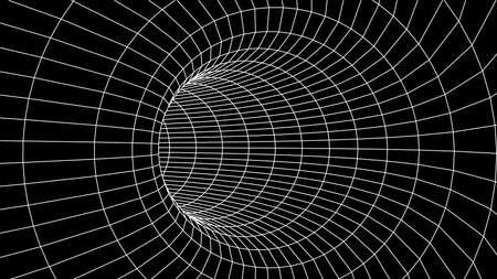 Abstract tunnel. Vector wormhole 3DCorridor mesh
