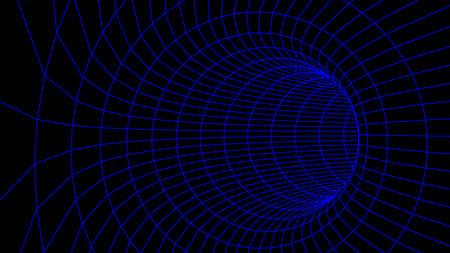 Abstract tunnel. Vector wormhole 3DCorridor mesh Ilustración de vector