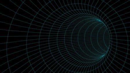 Abstract tunnel. Vector wormhole 3DCorridor mesh Çizim