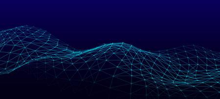 Vector futuristic wave on a blue background. Digital technologies. Big data.