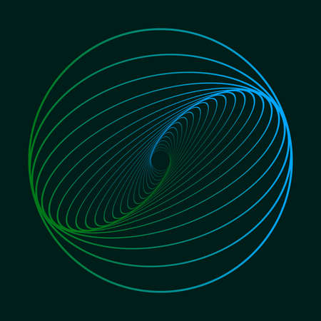 Twisted colored spiral. Curved wireframe tunnel. Vector element.