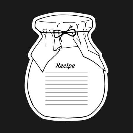 Recipe card with lines text and big jar glass. To use for writing down a recipe. Vector illustration design. Cookbook template page. Vektoros illusztráció