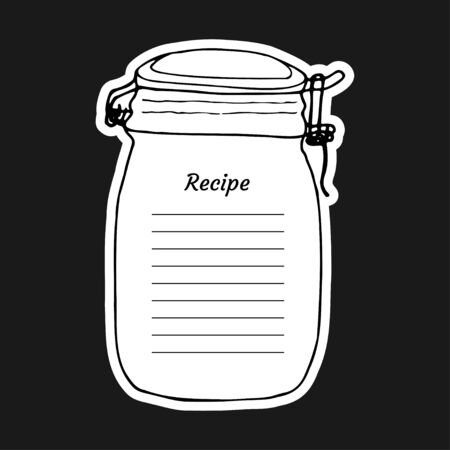 Recipe card with lines text and big jar glass. To use for writing down a recipe. Vector illustration design. Cookbook template page.
