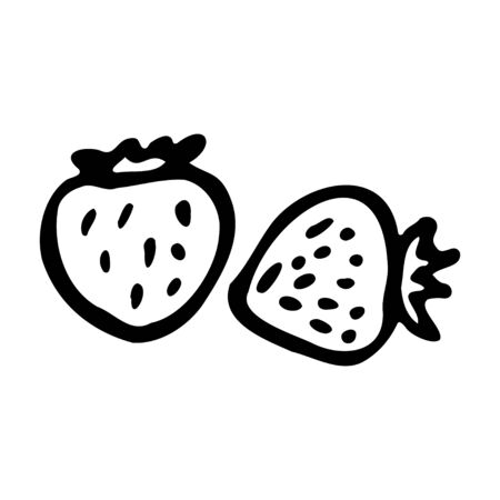 Strawberry. Hand drawn outline doodle icon. Transparent isolated on white background. Vector illustration for greeting cards, posters, patches, prints for clothes, emblems.