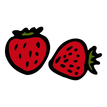 Red strawberry. Hand drawn outline doodle icon. Colorful isolated on white background. Vector illustration for greeting cards, posters, patches, prints for clothes, emblems.