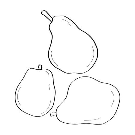 Pear. Hand drawn doodle icon. Vector black and white illustration isolated on white background. Decoration for greeting cards, posters, patches, prints for clothes, emblems.