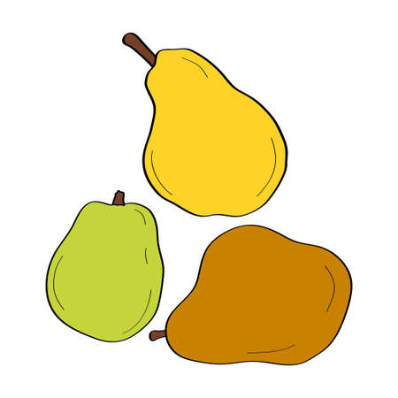 Pear. Hand drawn doodle icon. Colorful vector illustration isolated on white background. Decoration for greeting cards, posters, patches, prints for clothes, emblems. 向量圖像