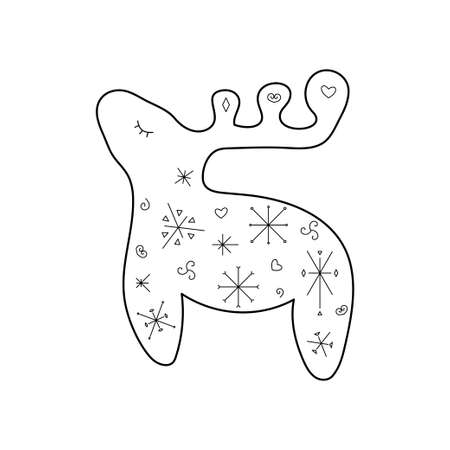 Stylized cute deer. Outline style. Vector illustration for décor, greeting cards, posters, prints for clothes, emblems.