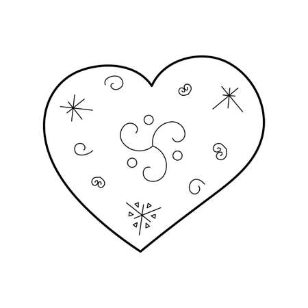Stylized cute heart. Outline style. Vector illustration for décor, greeting cards, posters, prints for clothes, emblems.