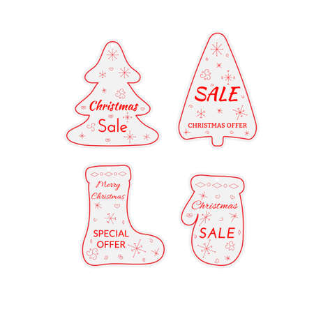 Christmas sale paper tags. Labels set of shapes mitten, sock, Christmas tree with hanging with discount text for christmas holiday shopping promotion. Vector illustration.