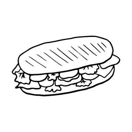 Panini italian traditional food. Hand drawn sketch style. Vector illustration isolated on white background for restaurant menu and package design, poster, web. Ilustração
