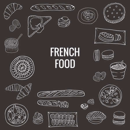 Vector hand drawn of french food.