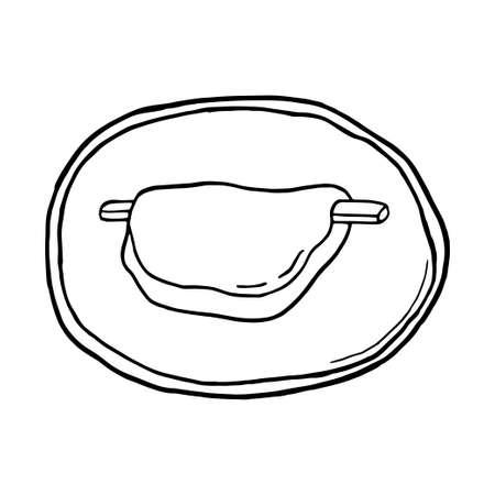 Vector hand drawn doodle hanabira mochi. Japanese rice dessert. Design sketch element for menu cafe, restaurant, label and packaging. Illustration on a white background.
