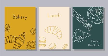 Hand drawn poster set with croissant, profiterole, macaron, madeleine, baguette, bouillabaisse, poached egg. Design sketch element for menu cafe, bistro, restaurant, bakery and packaging. Vector illustration.