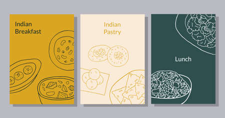 Hand drawn poster set with curry, malai kofta, navratan korma, aloo gobi, biryani, samosa, laddu, rasmalai.  Vector illustration.