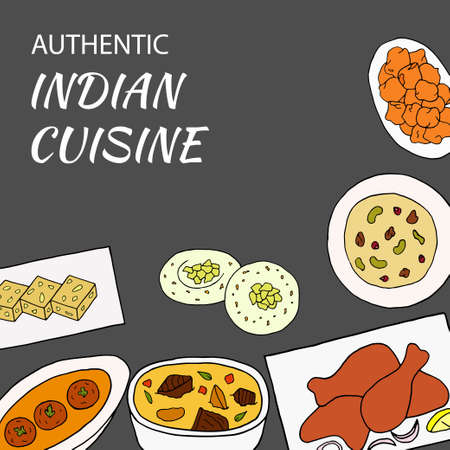 Vector hand drawn of indian cuisine poster with curry, sesame barfi, malai kofta, navratan korma, pakora, rasmalai, chicken tandoori. Design sketch element for menu cafe, bistro, restaurant, bakery and packaging. Illustration on a dark background.
