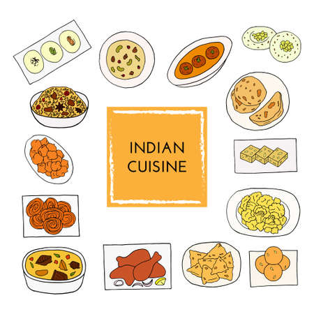 Vector hand drawn of indian cuisine set with aloo gobi, biryani, curry, malai kofta, naan, navratan, pakora, rasmalai. Illustration on a white background. Illustration