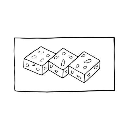 Vector hand drawn doodle sesame barfi. Indian dessert. Design sketch element for menu cafe, restaurant, label and packaging. Illustration on a white background. Illustration