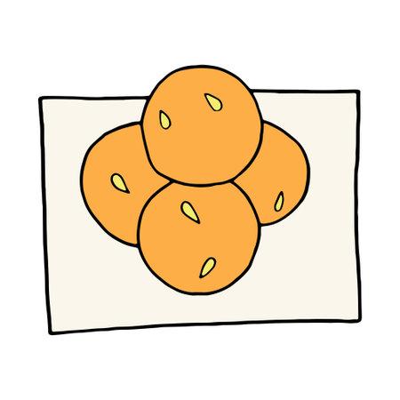 Vector hand drawn doodle laddu. Indian dessert. Design sketch element for menu cafe, restaurant, label and packaging. Colorful illustration on a white background.