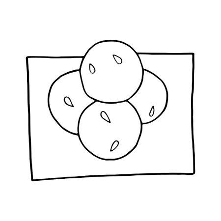 Vector hand drawn doodle laddu. Indian dessert. Design sketch element for menu cafe, restaurant, label and packaging. Illustration on a white background.