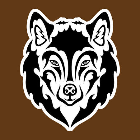 Hand drawn abstract portrait of a wolf. Sticker. Vector stylized illustration isolated on brown background. Ilustración de vector
