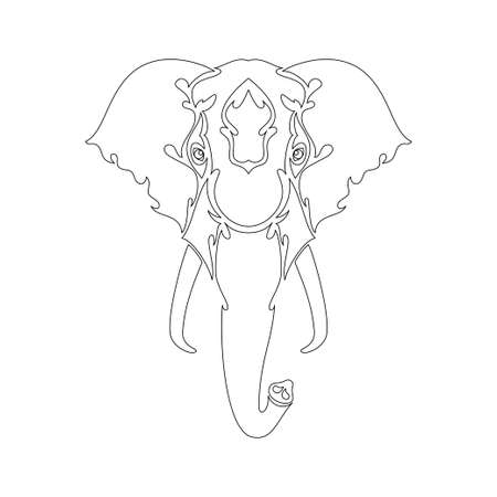 Hand-drawn abstract portrait of an elephant for tattoo, logo, wall decor, T-shirt print design or outwear. Vector stylized illustration on white background.